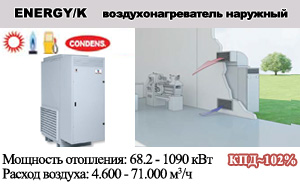 Конденсационные воздухонагреватели наружной установки ENERGY /K