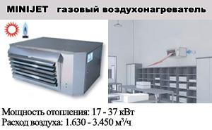 Газовые подвесные ультракомпактные воздухонагреватели MINIJET